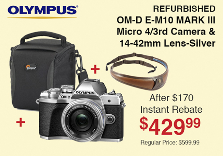 Olympus Refurbished E-M10 Mark III Kit with Bag and Strap