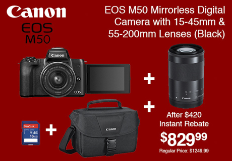 Canon EOS M50 Mirrorless Digital Camera with 2 Lenses