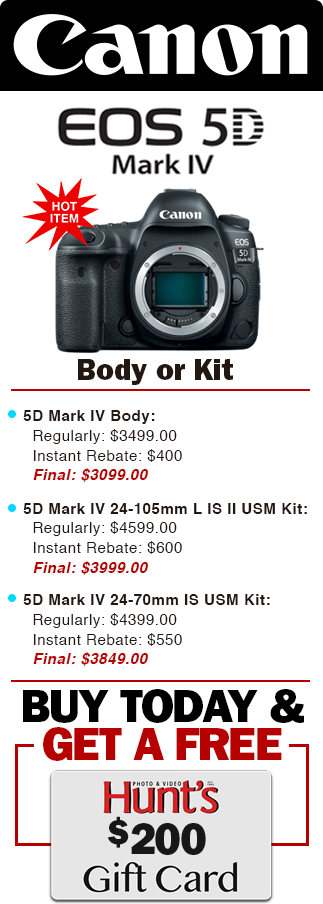 Canon 5D Mark IV Extra Savings! Buy Today & Get a FREE $200!