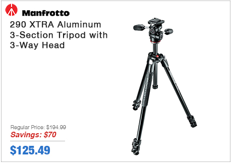 Manfrotto 290 XTRA Aluminum 3-Section Tripod with 3-Way Head