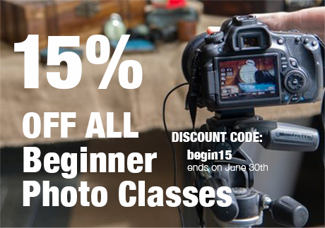 Discount on beginner photo classes.