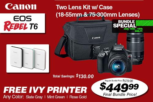 Canon EOS Rebel T6 Double Zoom Lens Kit Bundle Deal