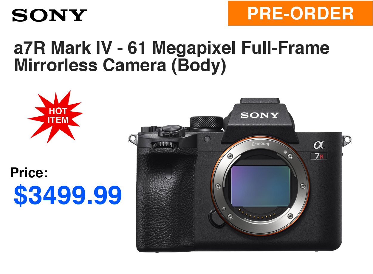 Sony A7R IV - 61 Megapixel Full-Frame Mirrorless Camera (Body Only)