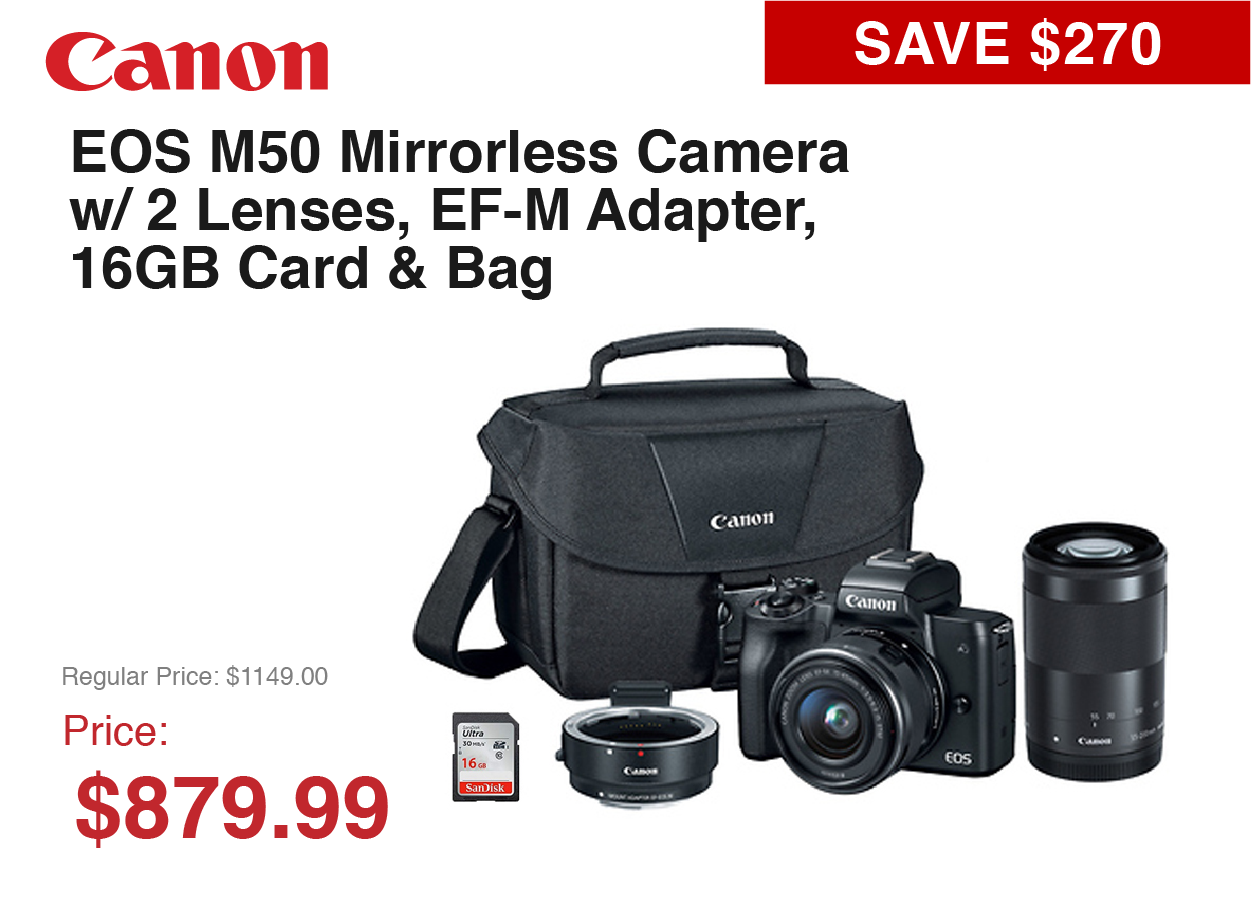 Canon M50 Mirrorless System with Bag and Card and Adapter