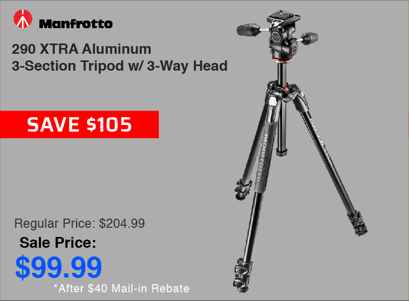 Manfrotto 290 XTRA Aluminum 3-Section Tripod with Head