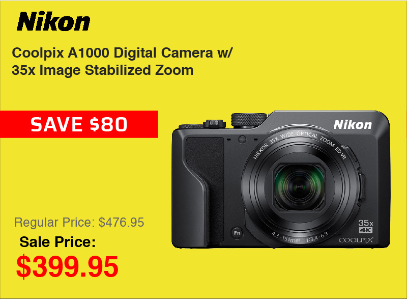 Coolpix A1000 Digital Camera with 35x Image Zoom