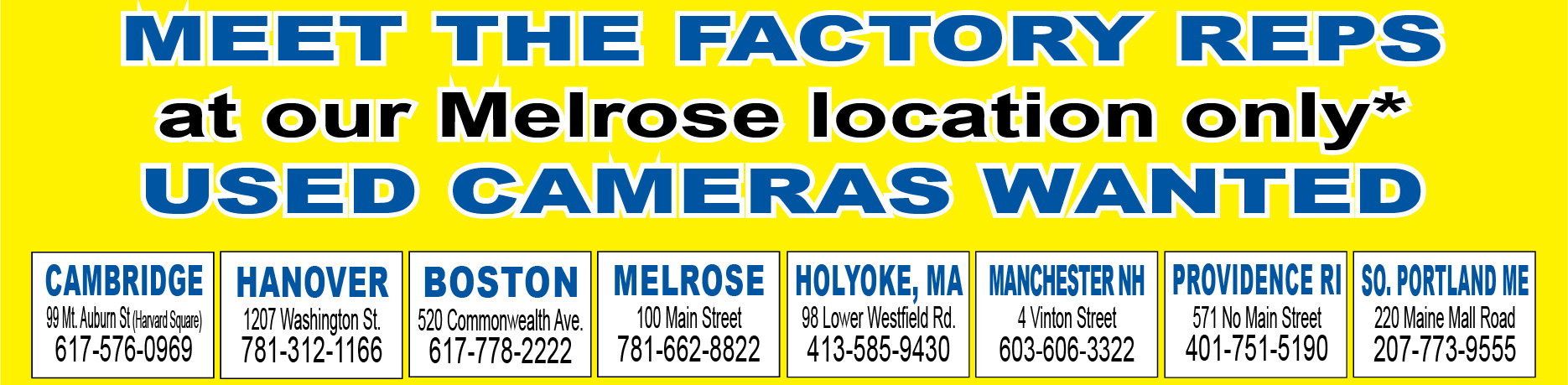 Meet Factory Reps on Friday and Saturday and Sunday in Melrose, MA