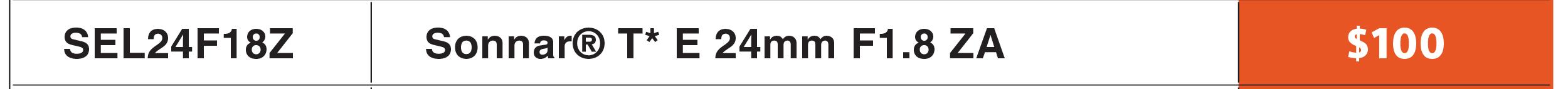 Sony 24mm f/1.8 Lens
