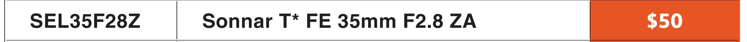 Sony SEL 35mm f/2.8 ZA