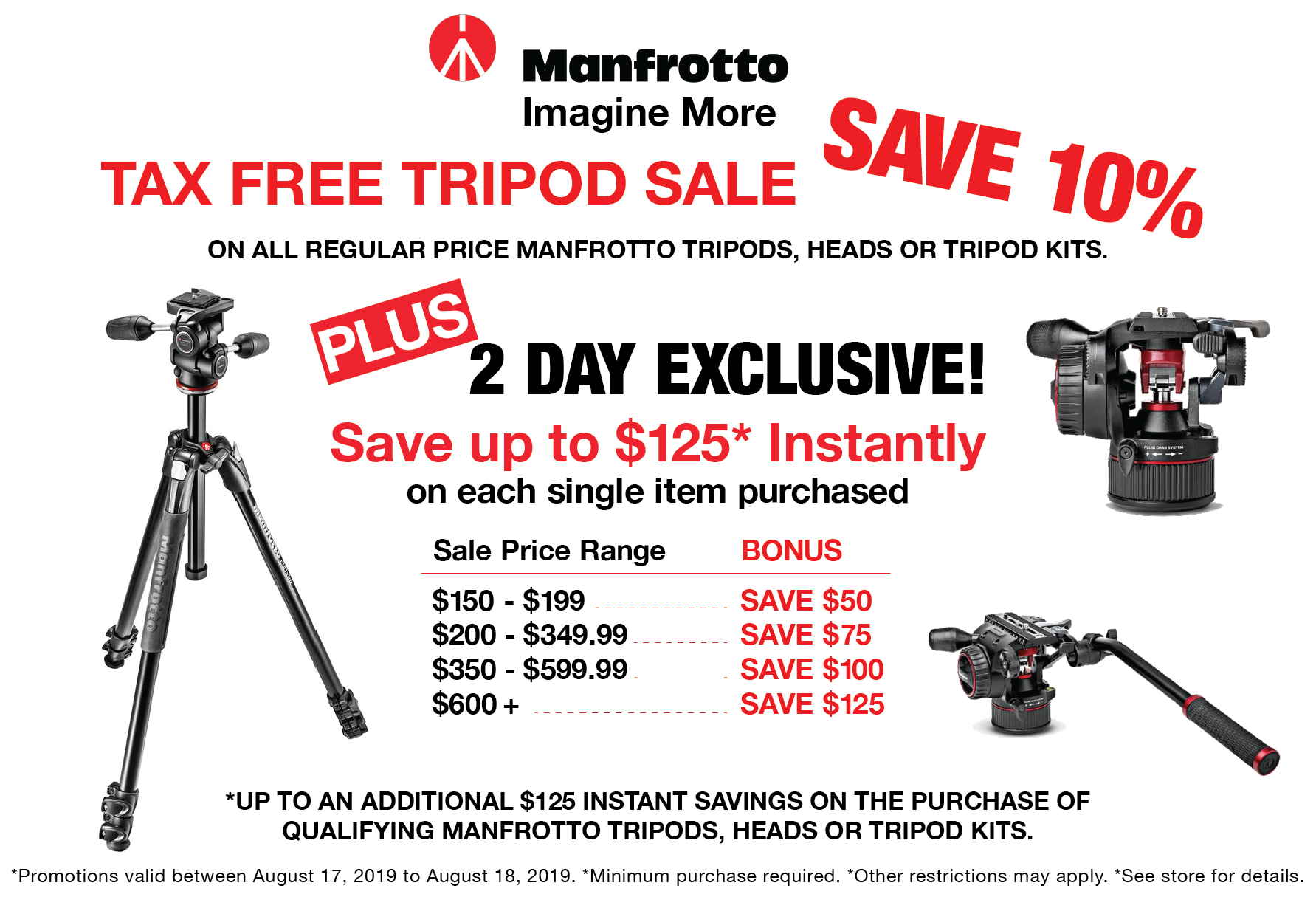Manfrotto Tax Free Tripod Sale