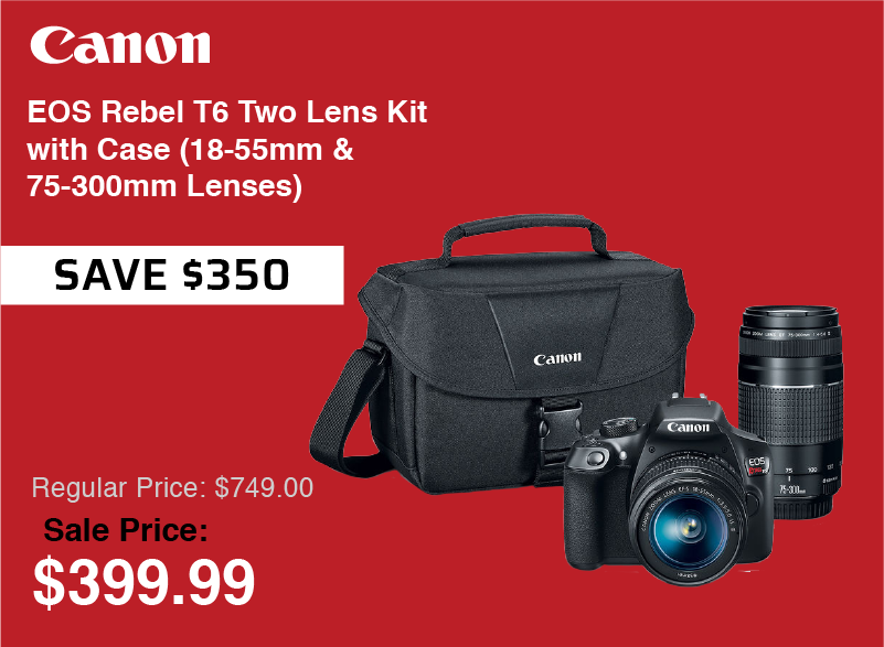 Canon EOS REBEL T6 2 Lens Kit with Bag