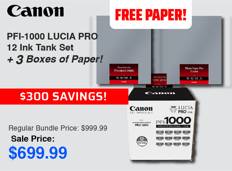 Canon Pro-1000 inks with Free Paper
