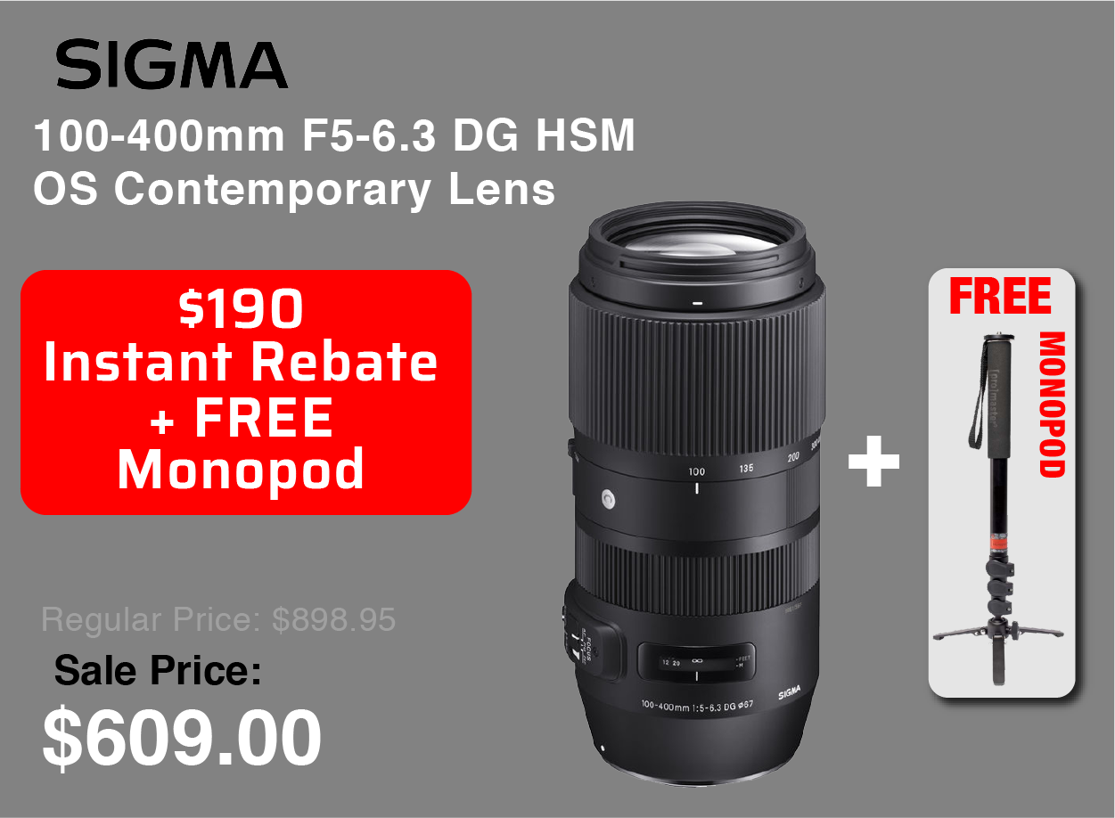 Sigma 100-400mm with Free Monopod