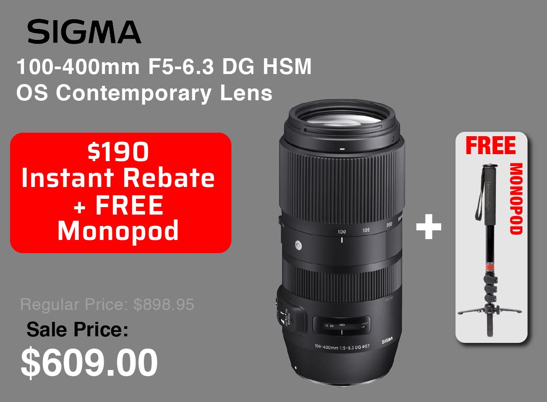 Sigma 100-400mm with Free Monopod