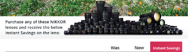 Nikon Stand-alone lens instant savings!