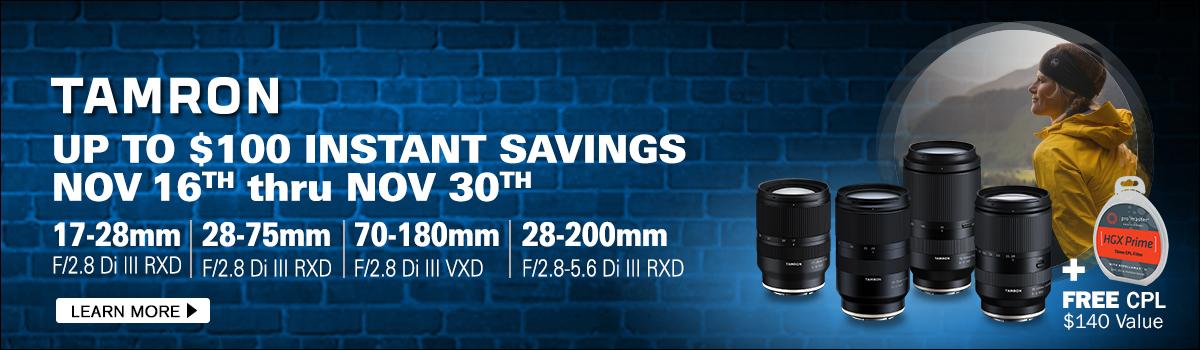 Tamron Savings on Sony Mount Lenses